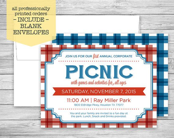 Picnic Invitation + Envelopes, Red  Blue Plaid, Corporate, Birthday
