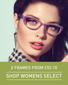 Womens 2 Select Frames, Glasses or Sunglasses from £53.10 // Includes Single Vision Lenses