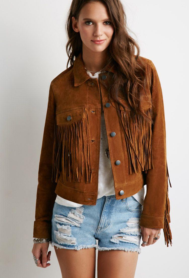 59d9a4d26 Suede Fringe Jacket   Forever 21 - 2002247813   want   Fringe jacket ...