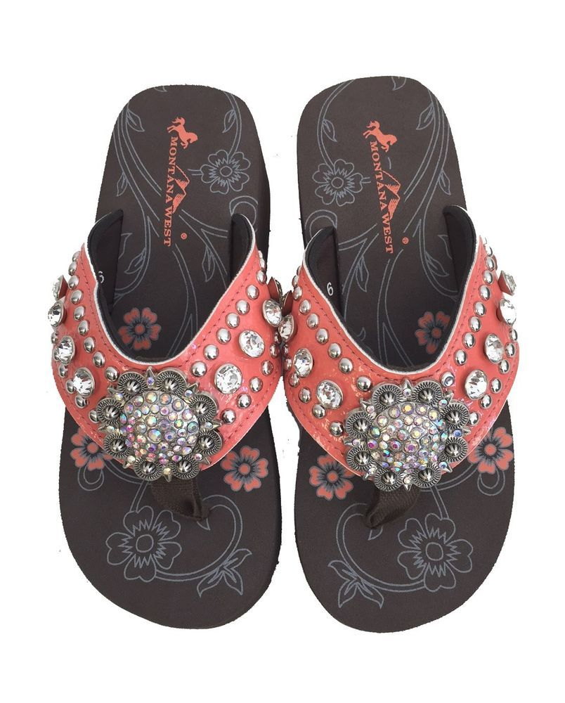 06715b80b3785 Montana West Women Flip Flops Wedged Shiny Bling Sandals Floral Concho  Coral  MontanaWest  Western