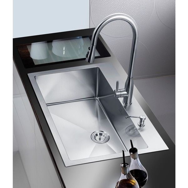 NationalWare Overmount Stainless Steel 33 in. 2-Hole Single Bowl ...