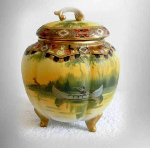 Nippon-hand-painted-biscuit-or-cracker-jar-Indian-in-canoe-scene-FREE-SHIPPING