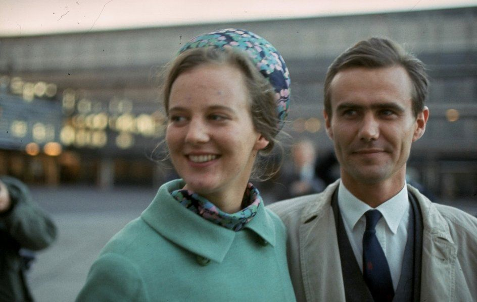 Princess Margrethe of Denmark say goodbye to Henri, Count de Labored de Montpezat in Kastrup Airport after his first visit to Denmark, 1966