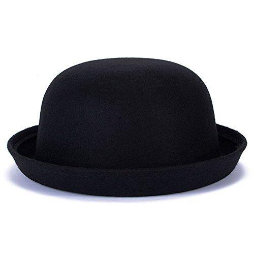 Xy Fancy Women Fashion Autumn Winter Woolen Roll Up Brim Fedora Bowler Hat Black Autumn Fashion Women Bowler Hat Fashion