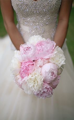 Lovely bridal bouquet of peonies at Aulani, A Disney Resort & Spa