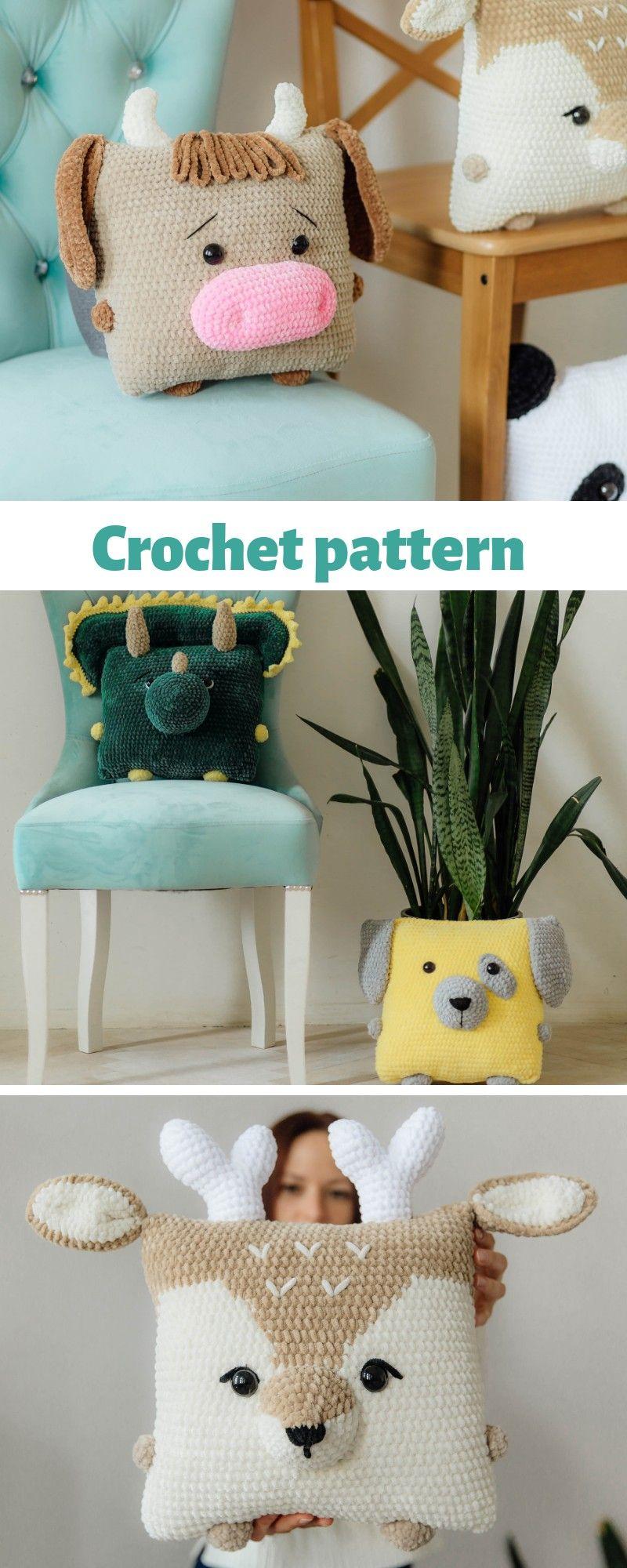 Crochet raindeer, crochet pattern dog, amigurumi dog pattern, crochet pillow, amigurumi dinosaur