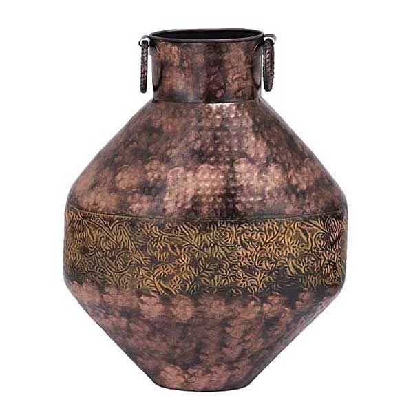Rustic Metal Vase 20 In Ht Cop