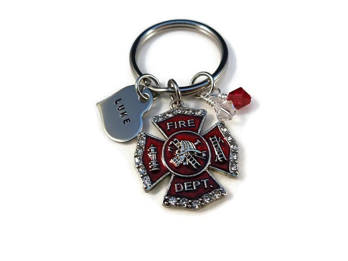 Personalized Love Fireman firefighter Keychain with Personalized heart - Fireman Maltese Cross - Gift for her - I love my Firefighter by MNCreativeDesigns on Etsy https://www.etsy.com/listing/269975741/personalized-love-fireman-firefighter