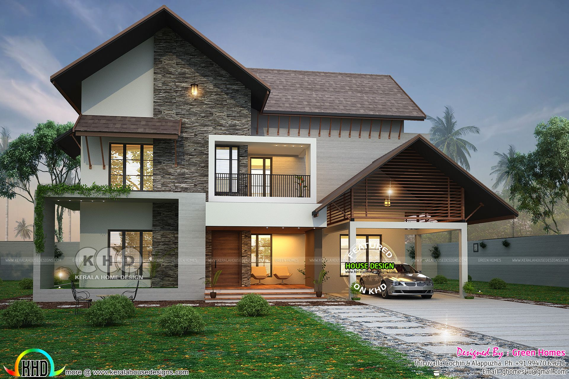 2900 Square Feet 4 Bhk Sloped Roof House Kerala House Design Small House Elevation Design House Roof