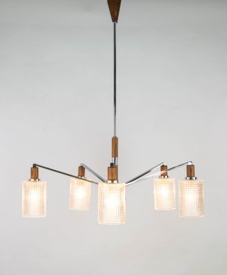 Vintage Scandinavian Chrome Wood And Glass Chandelier For Sale At