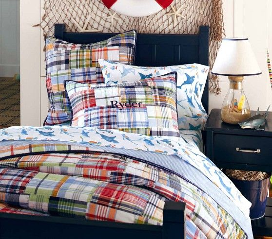Madras Quilted Bedding | Pottery Barn Kids And cute lamp