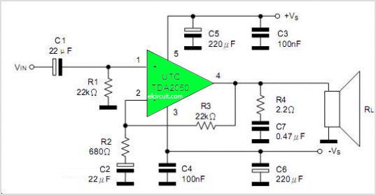 tda2050 bridge amplifier diagram