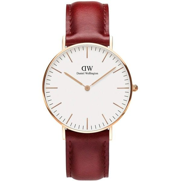 Daniel Wellington Classic Suffolk 23K Rose Gold-Plated Watch ($199) ❤ liked on Polyvore featuring jewelry, watches, red, leather band watches, water resistant watches, rose gold plated jewelry, bezel watches and daniel wellington