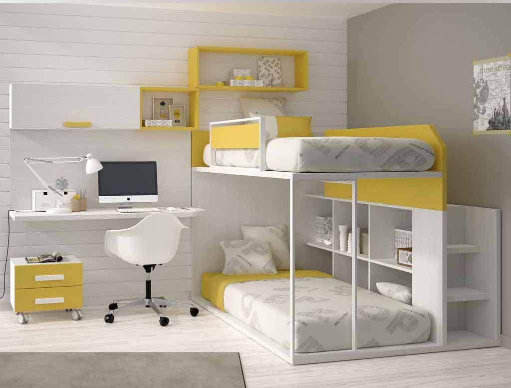 Cama litera baja con mueble lateral lit enfant for Habitaciones infantiles dobles