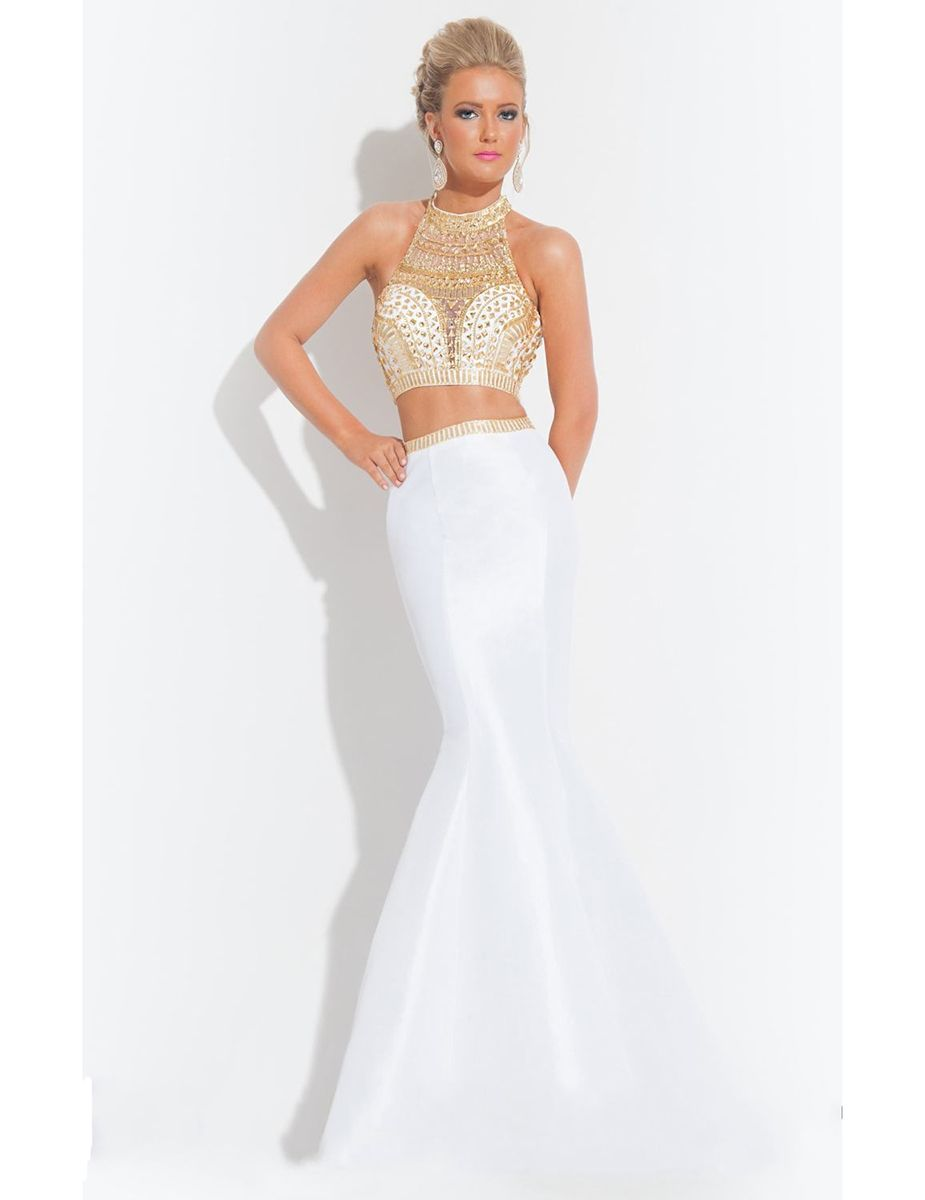 White and Gold Prom Dresses 2015