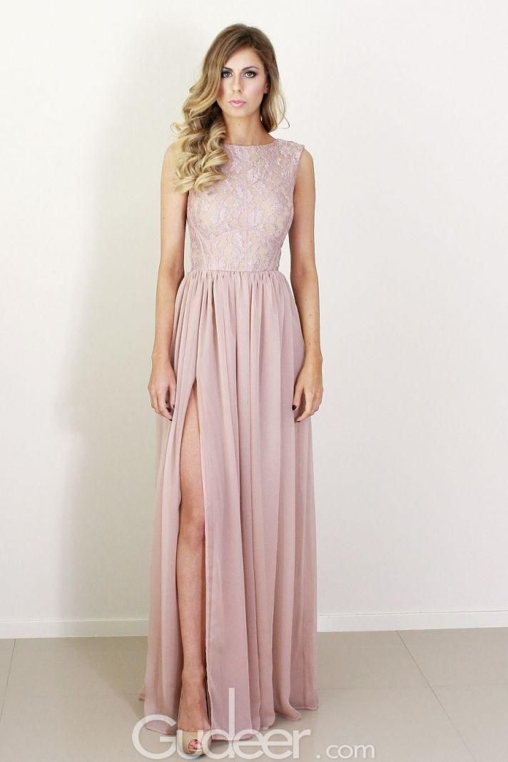 blush pink sleeveless high split long chiffon prom dress | Prom ...