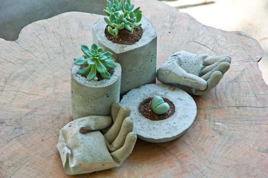 Planters and 2 Cement Hand Side Planters and 2 Cement Hand Side        Planters and 2 Cement Hand Side