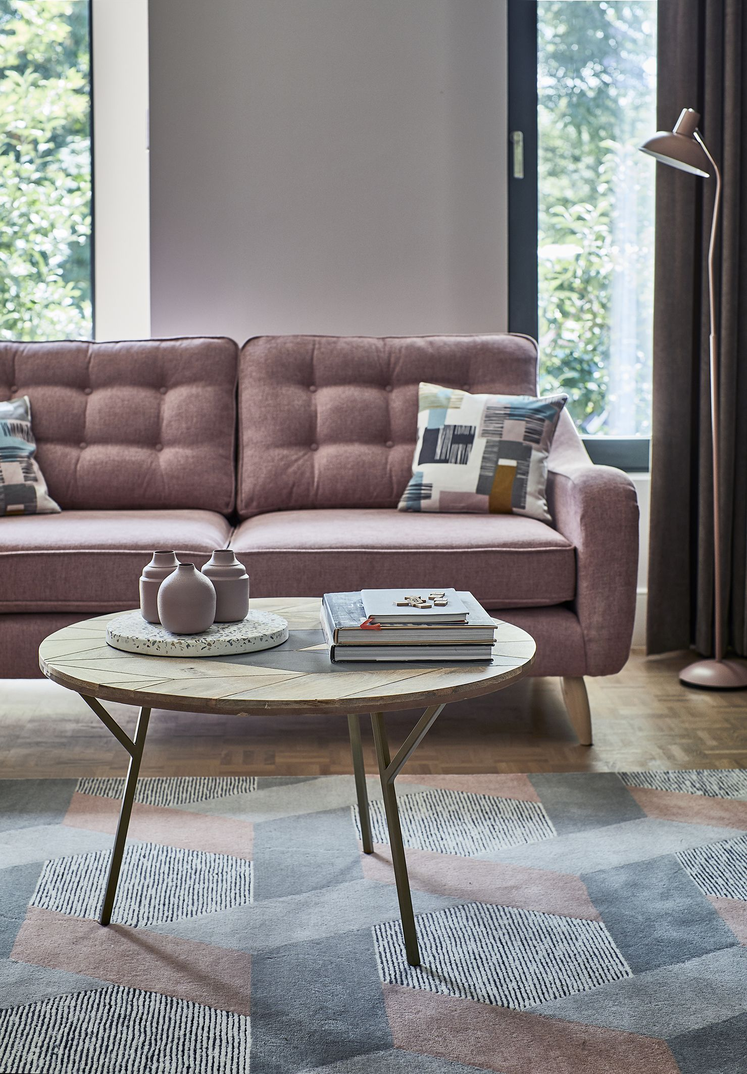 The modern jive trend will add a retro touch to your interior with bold patterns