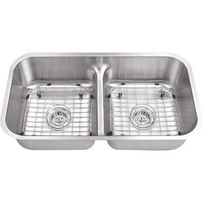 Schon All In One Undermount Stainless Steel 32 In Double Bowl Kitchen Sink Scld505018 Stainless Steel Kitchen Sink Double Bowl Kitchen Sink Double Bowl Undermount Kitchen Sink