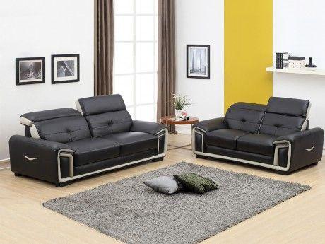 Canape 3 2 Places En Cuir Maya Noir Et Lisere Gris Canape Cuir Canape Design Canape 3 2
