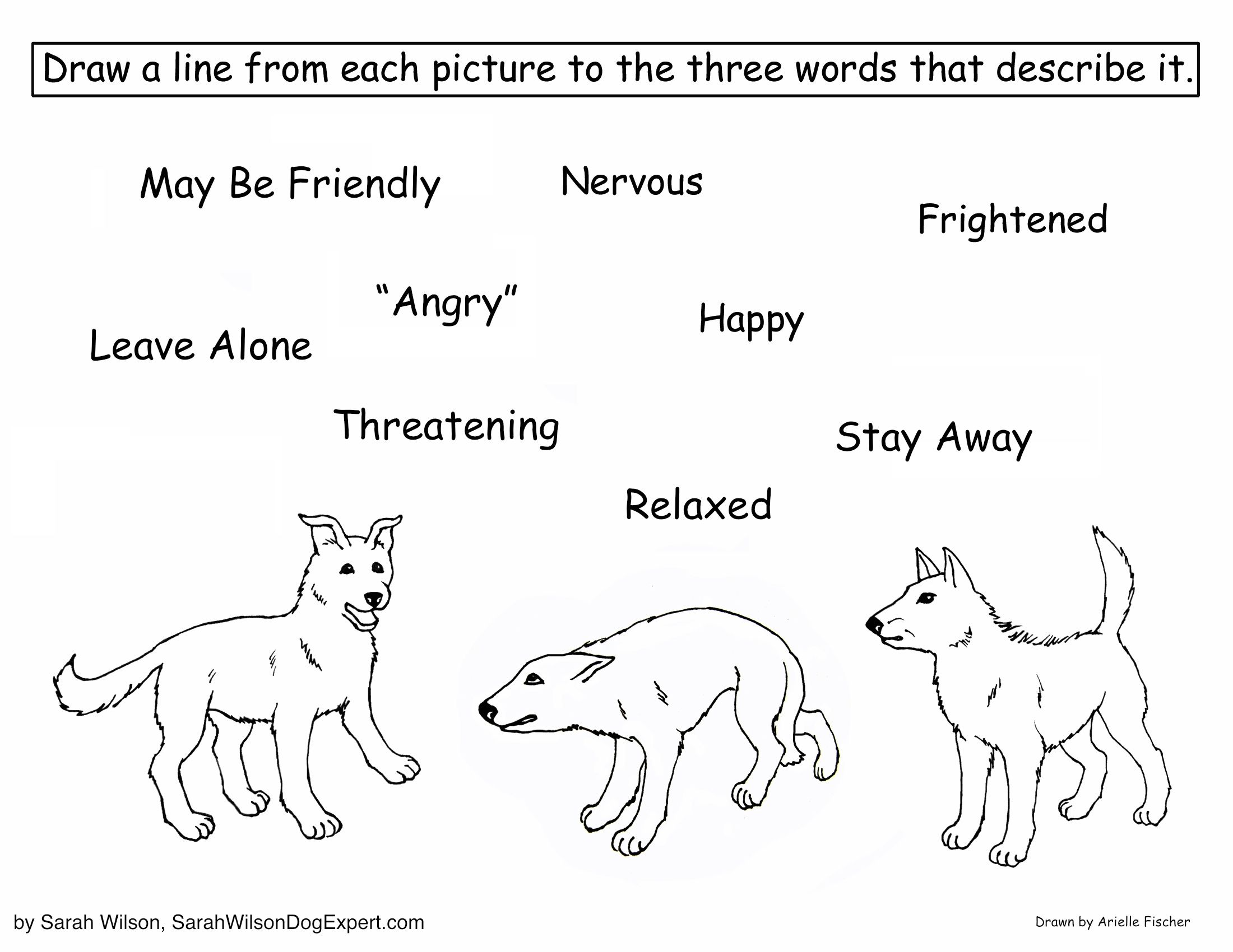 Canine Body Language Coloring Page