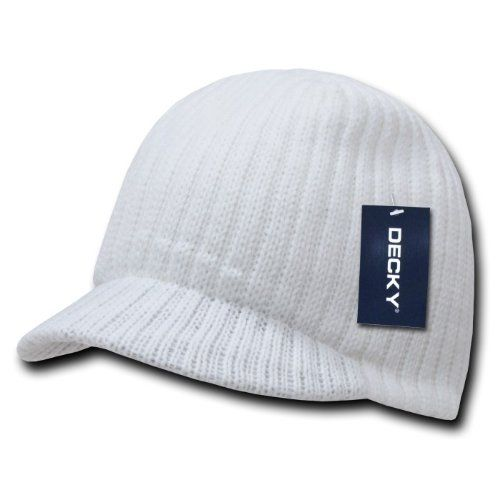 WHITE SOLID CAMPUS JEEP CAP VISOR BEANIE SKI CAP CAPS HAT HATS TOQUE  6.88 3fd54373b4a