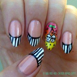 A girl and her chicken named Betty: OMD2 cherry skull funky french tips