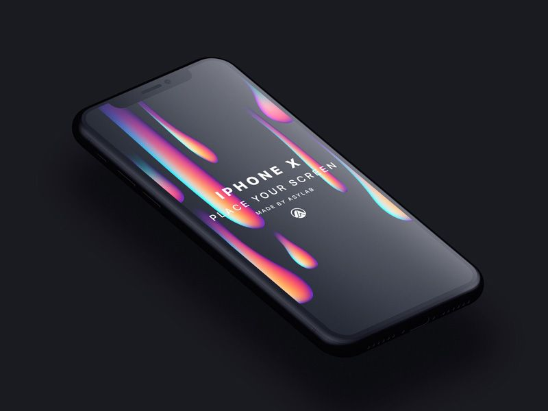 Customizable Psd Mockup Of Perspective Apple Iphone X In Black Color Psd Is Easy To Use With Smart Layers And Dimensions Are 5000x500 Mockup Psd Mockup Iphone