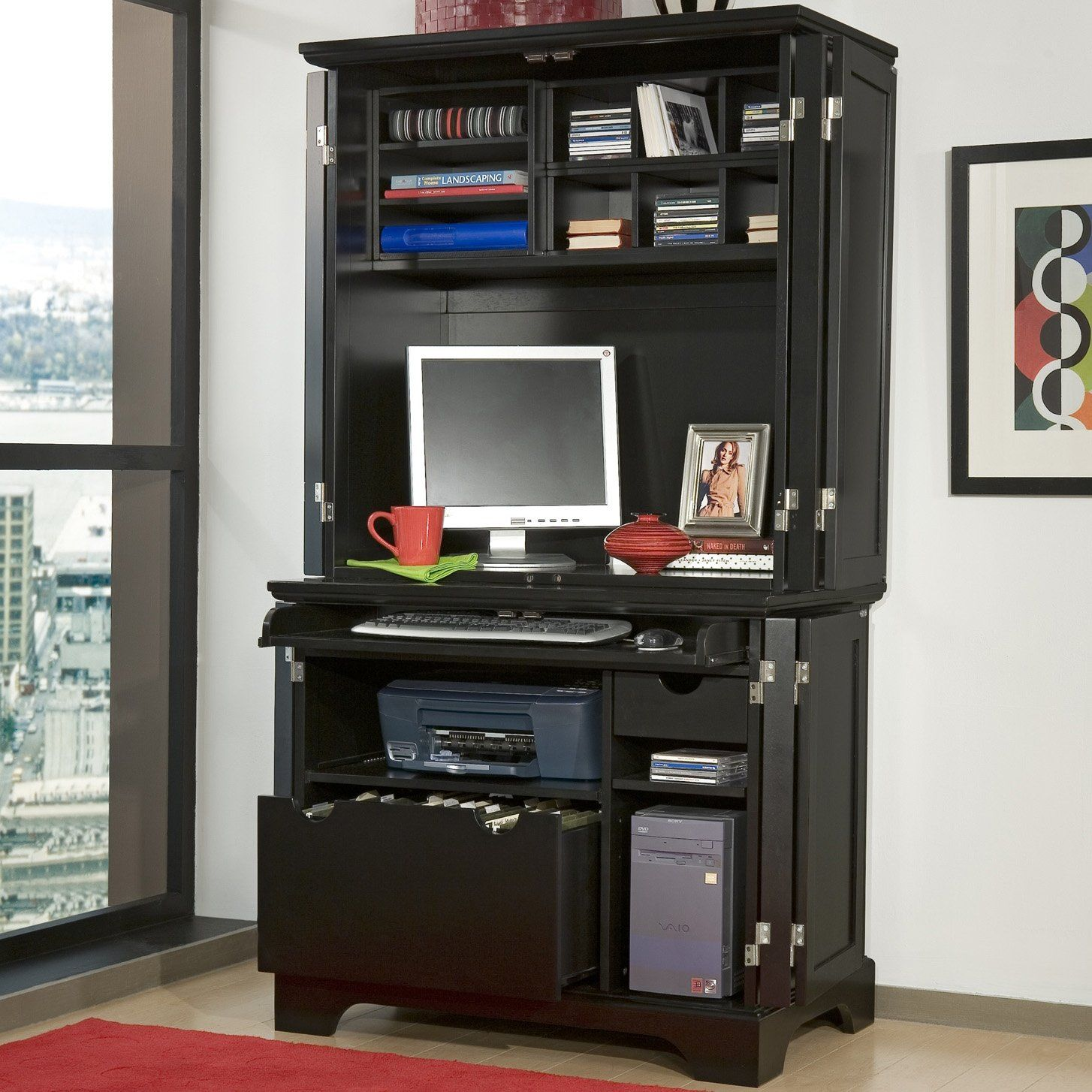 home styles bedford compact office cabinet & hutch - computer