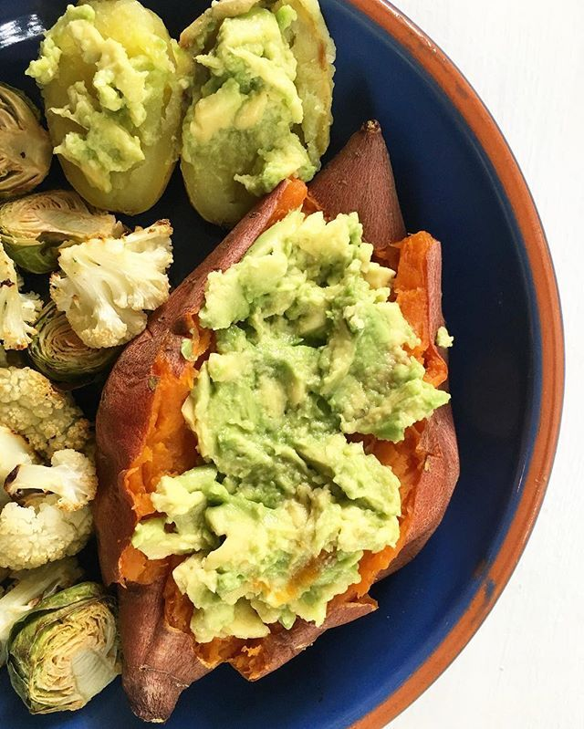 Lunch from yesterday: potatoes, avocados, brussels sprouts, and cauliflower. Wishing I could have this today. At least it is the last bad day of a week full of exams! Ready for the weekend.  Yummery - best recipes. Follow Us! #veganfoodporn
