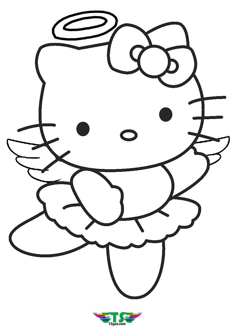 Hello Kitty Angel Coloring Page For Girls Hello Kitty Colouring Pages Hello Kitty Printables Angel Coloring Pages