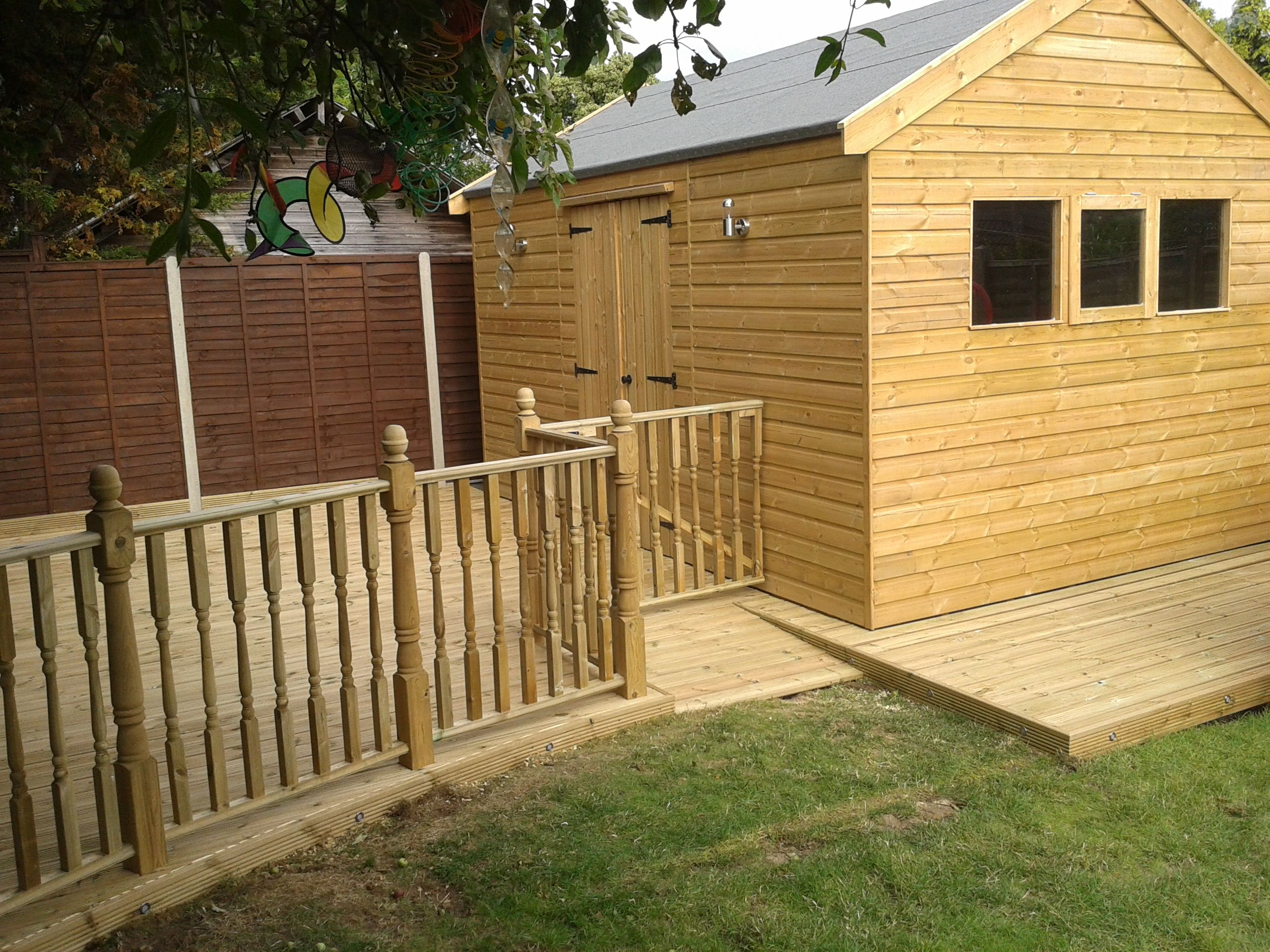 15ft X 12ft Garden Workshop With Decking Area Garden Buildings Garden Workshops Decking Area