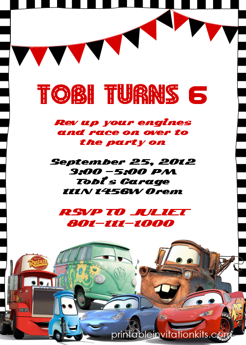 FREE Printable Cars Invitations 4 per sheet cars invitations – Printable Cars Birthday Invitations