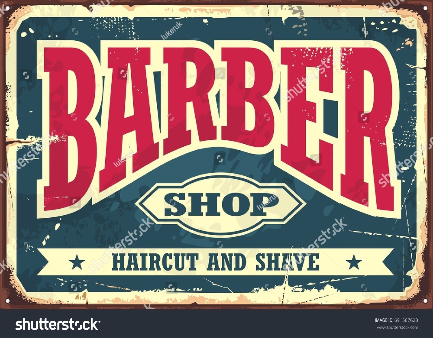 Barber Shop Hipster Haircut And Shave Vintage Sign Template Barbershop Retro Poster Layout Barber Shop Barber Shop Signage