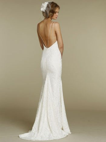 Spectacular fitted slim lace sweetheart wedding dress with spaghetti straps
