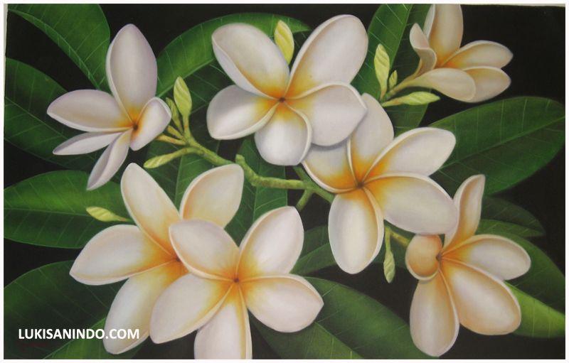 Plumeria Painting By Lukisanindo Com Black Canvas Art Flower Illustration Flower Art