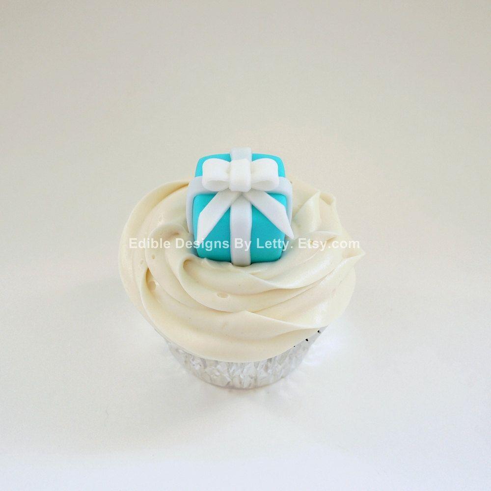 6 Edible Fondant Cupcake Toppers - Tiffany Box. $16.95, via Etsy.