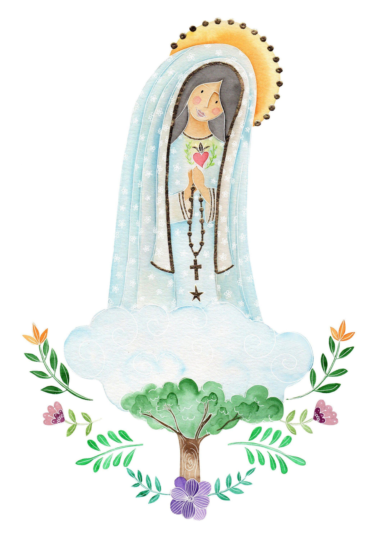 Virgin Of Fatima Com Imagens Virgem Maria Aquarela Desenhos