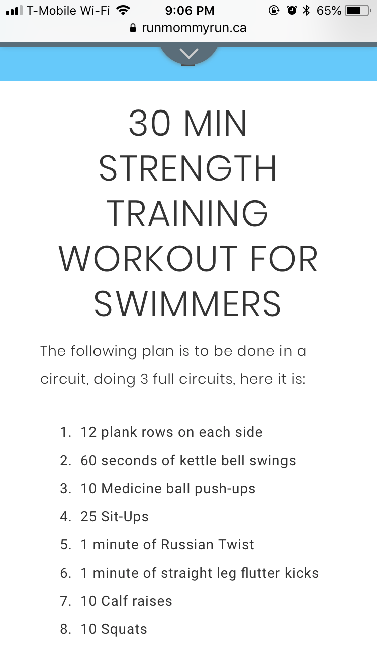 Https Www Runmommyrun Ca 30 Min Strength Training For Swimmers Workouts For Swimmers Dryland Workout Swimmers Workout Dryland