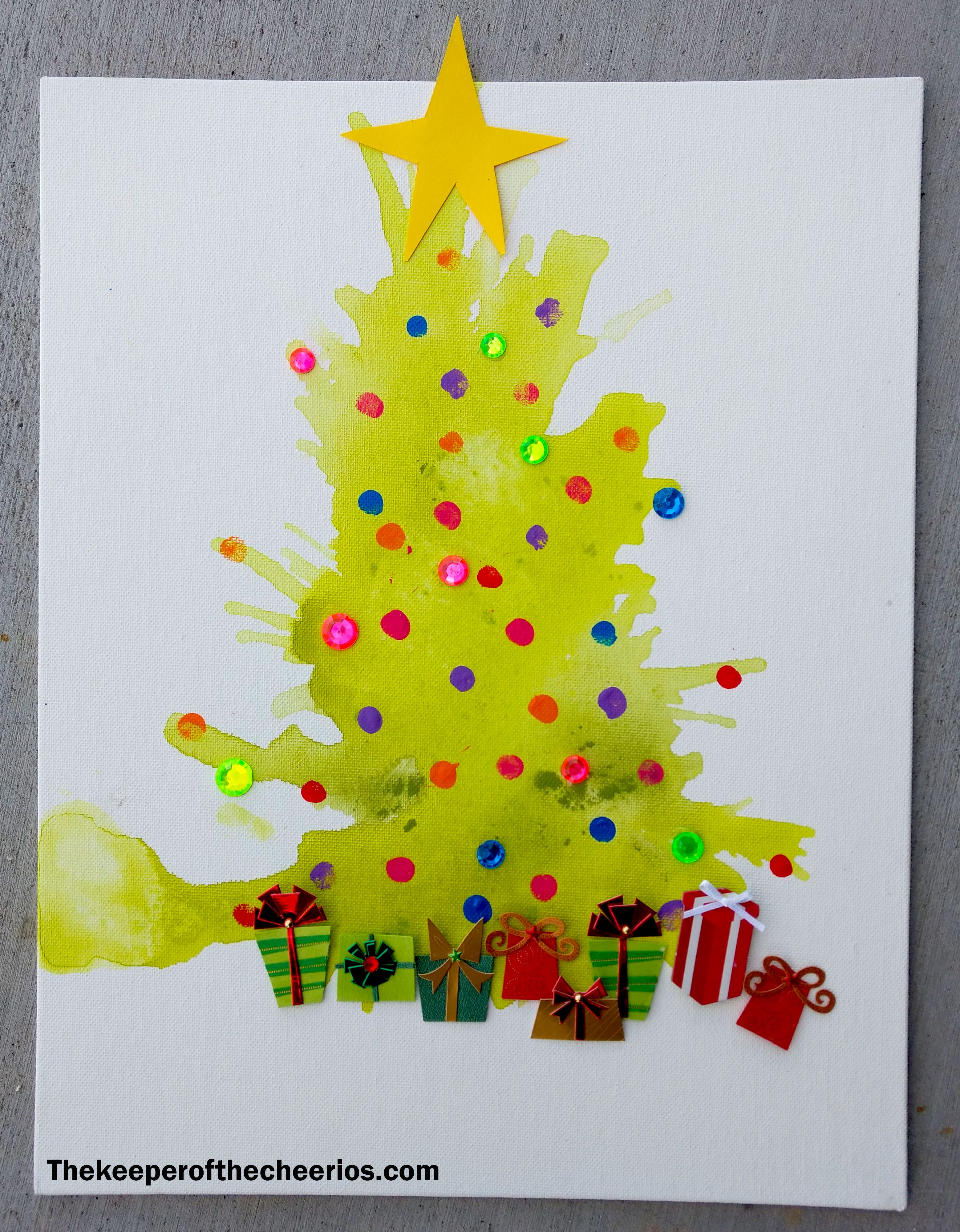 Straw Painted Christmas Tree Craft The Keeper Of The Cheerios Christmas Tree Painting Christmas Tree Crafts Tree Crafts