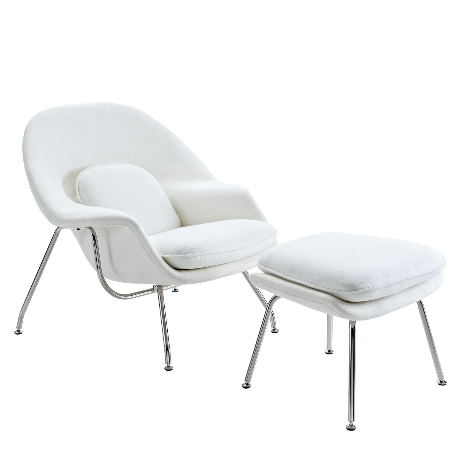 Eero Saarinen Style Womb Chair and Ottoman Set in White
