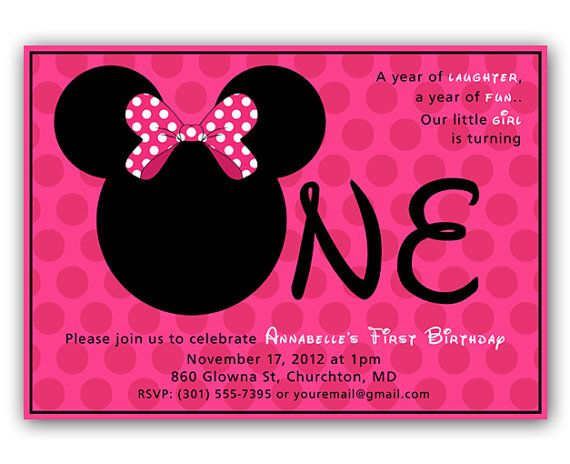 INSTANT DOWNLOAD - Editable - Minnie Mouse Inspired First Birthday - download invitation card