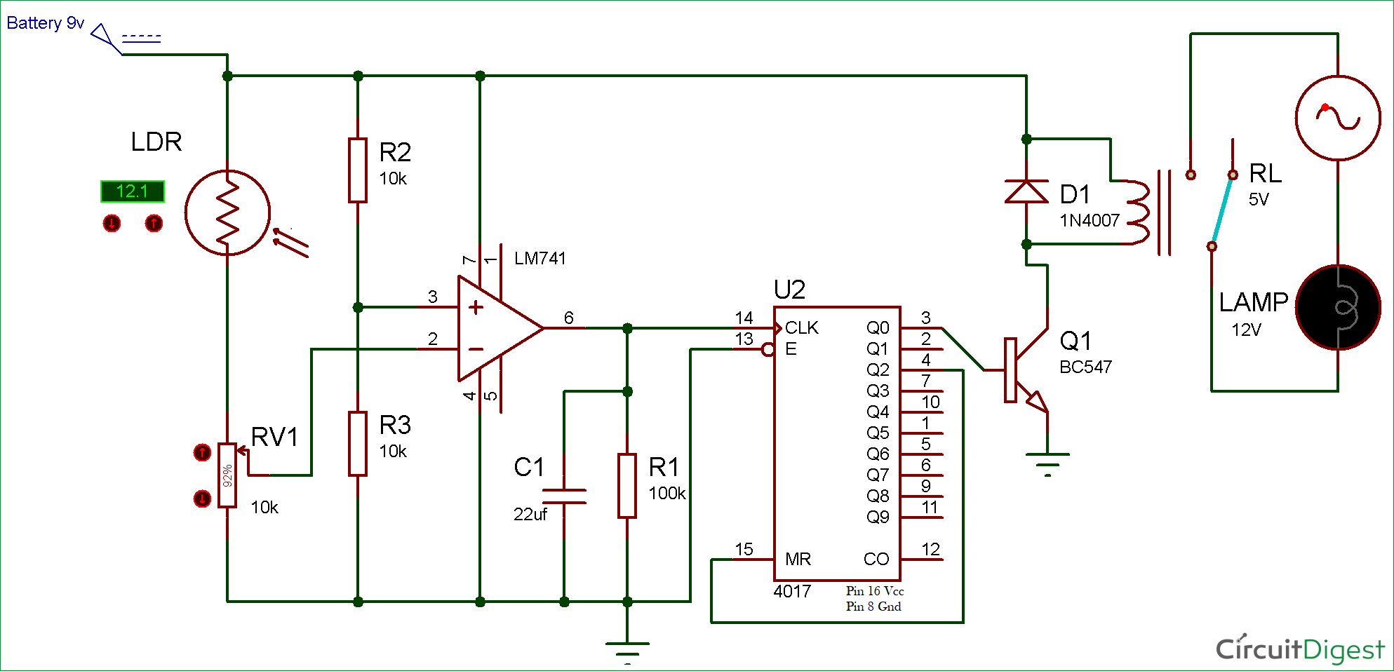 Wireless Switch Circuit diagram using LDR and CD4017 | Electronic ...