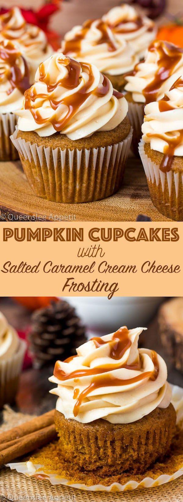 Kürbis-Cupcakes mit gesalzenem Karamell-Frischkäse-Zuckerguss - #gesalzenem #KaramellFrischkäseZuckerguss #KürbisCupcakes #mit #creamcheeserecipes