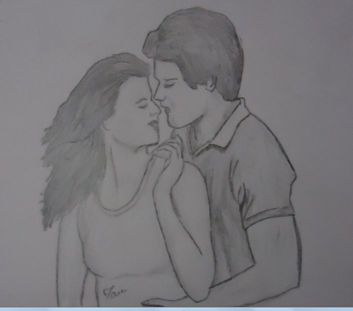 Pencil sketches painting romantic couples sketches