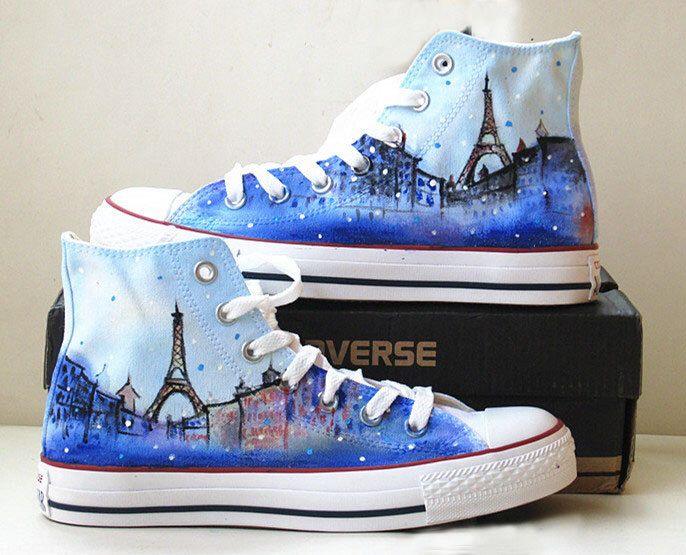Eiffel tower shoes converse galaxy converse Custom converse hand painted shoes  canvas shoes sneakers leisure shoes converse by Kingmaxpaints on Etsy https://www.etsy.com/listing/186540187/eiffel-tower-shoes-converse-galaxy