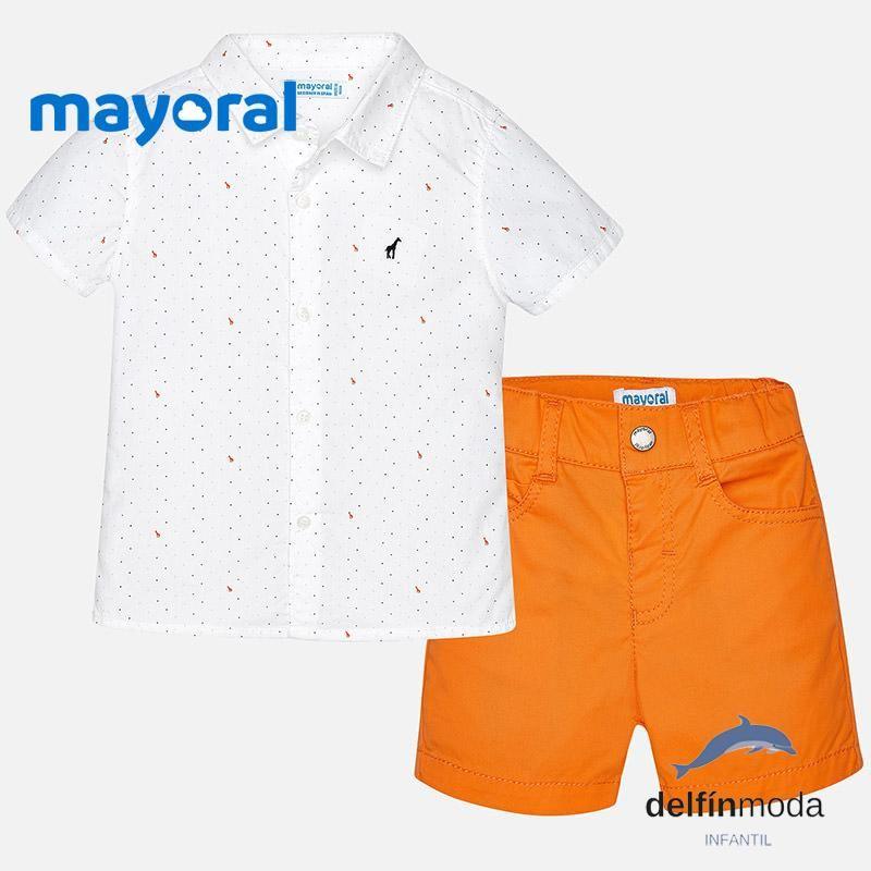 690c26cc7 Conjunto para bebe niño MAYORAL camisa y pantalón naranja | 2018 ...