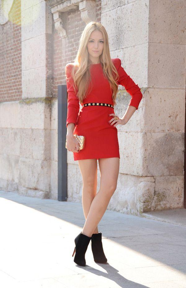 Red-Dress-Black-Stud-Belt | Fall Fashion | Pinterest | Fashion ...