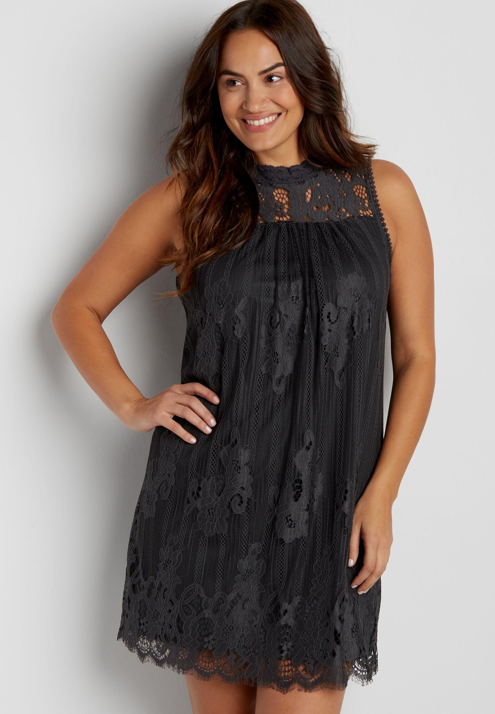 41c3a0defc Plus size lace shift dress with high neckline
