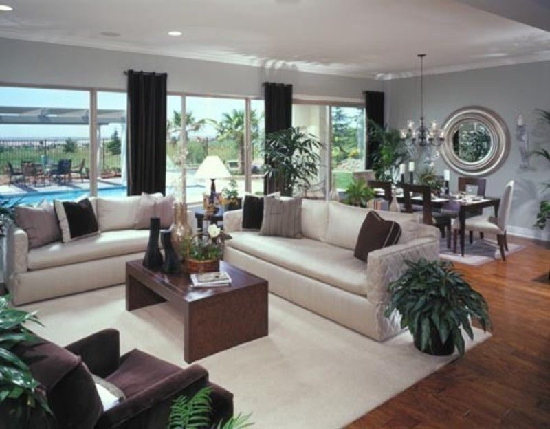 Great Chocolate Living Room | Blue And Brown Living Room, The Large Round Silver  Mirror Really